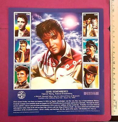 ELVIS AARON PRESLEY REMEMBERED FOREVER YOUNG 6 value Stamps Sheetlet MNH UKpost