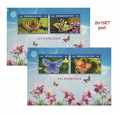 new Butterfly Les Pappillions 2016 TCHAD 2 Stamps Souvenir Sheetlets MNH GIFTset