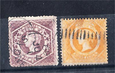 NEW SOUTH WALES 6d + 8d YELLOW DIADEMS USED (D26)