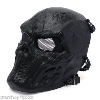 Full Face Mask Airsoft Paintball Metal Mesh Eye Protect Cosplay Game Skull Mask
