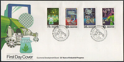 """1986, Singapore """"25 years of Industrial Progress"""" illustrated, unaddress FDC."""