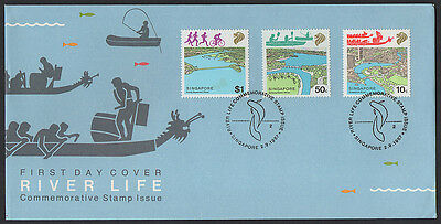 """1987, Singapore """"River Conservation"""" illustrated, unaddress FDC."""