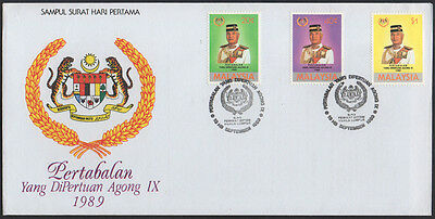 "1989, Malaysia ""Installation of Sultan Azian Shah"" illustrated unaddressed FDC."