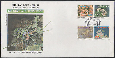 "1989, Malaysia ""Marine Life, II Crustaceans, "" illustrated unaddressed FDC."