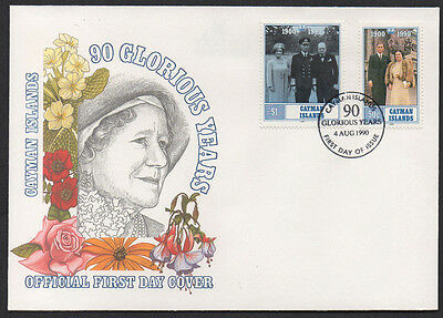 "1990, Cayman Island ""Queen Mother 90 Years"" illustrated unaddressed FDC."