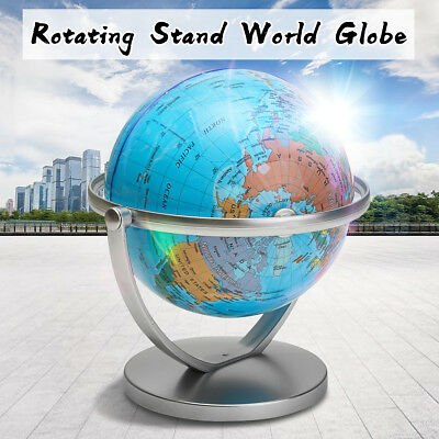 World Globe Earth Ocean Atlas With Rotating Stand Geography Educational Student