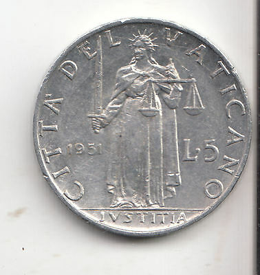 Vatican 5 Lira 1951 Scales Ef+    175R           By Coinmountain