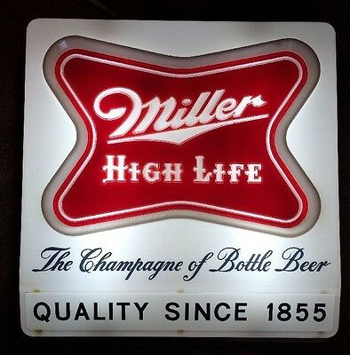 1957 World Series Game 4 Miller High Life Lighted Beer Sign Hank Aaron Cf Works