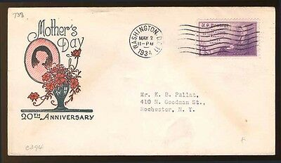 U.S. 738 perf 11, 1934 3¢ Mothers of America First Day Cover, Ioor Cachet, F-VF.