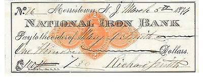 1874  National Iron Bank, Morristown, New Jersey    W/revenue