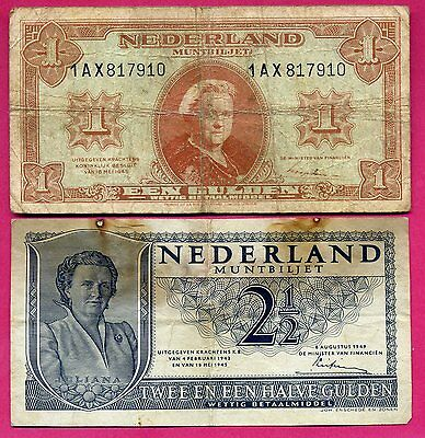 Pays Bas # lot 2 billets occasions 1 & 2-1/2 gulden ~ 1945-49 .