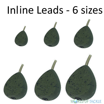 Pack of 6 x Flat Pear Inline Leads Sizes 1.1, 2, 2.5, 3, 3.5 oz Carp Fishing