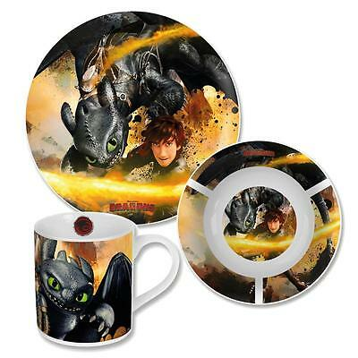 Dragons - Porcelain Kids Dinnerware Set Breakfast Toothless (3 pcs)