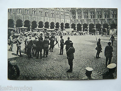 German Soldiers & Vehicles,Court of the Palace of Justice in Lüttich(Liege)-WW1
