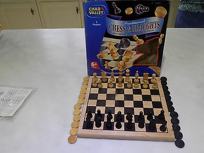 WOODEN CHESS & DRAUGHT SET,Felt Bases; Excellent Condition.(Chad Valley)With Box