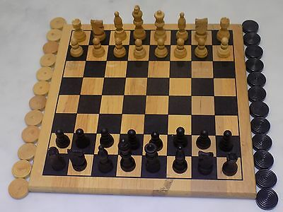 WOODEN CHESS & DRAUGHT SET,Felt Bases; Excellent Condition.(Chad Valley)