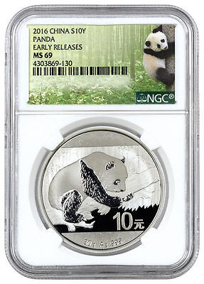 2016 China 10 Yuan 30 gram Silver Panda NGC MS69 ER (Panda Label) SKU38057