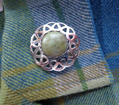 Vintage Scottish MIZPAH Brooch Round Silver Plated Celtic Pin IONA Green Marble