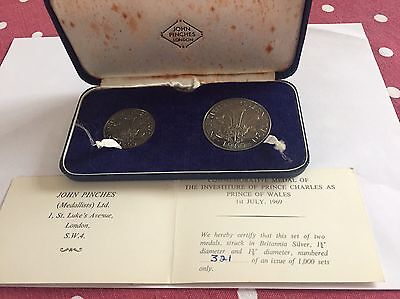 Prince Charles Investiture 1959 Set Of 2 Britannia Silver Medals Cased