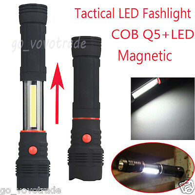 Magnetic 5W COB Q5 LED 1200LM Zoomable Work Light Inspection Flashlight Torch UK