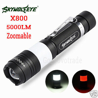 5000LM G700 X800 Zoomable CREE XML T6 LED Military 18650 Flashlight Torch Lamp