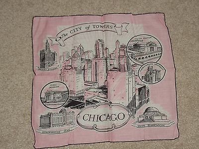 "Vintage Souvenir  Handkerchief   Chicago ""the City Of Towers"""