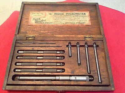"""Vintage Moore & Wright Inside Micrometer Ref 908 Boxed  Fair Condition. 8""""-33 """""""