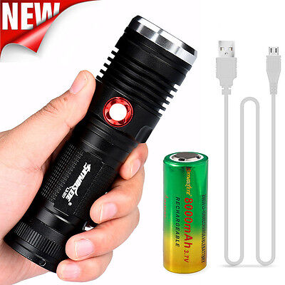 Tactial 8000 CREE XM-L2 U2 LED USB Rechargeable Flashlight Torch +26650 Battery