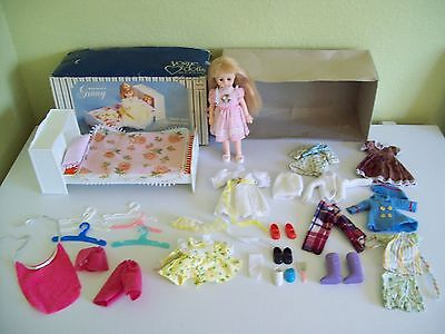 """1977 Vogue Ginny Doll 8"""" Lot Bed Clothing Shoes Long Blond Hair"""