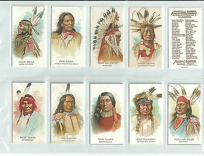SUPERB ALLEN & GINTER SET 50..CELEBRATED AMERICAN INDIAN CHIEFS..cigarette cards