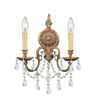Crystorama Novella Ornate Cast Brass Wall Sconce Crystal Elements 2702-OB-CL-S