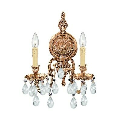 Crystorama Novella Ornate Cast Brass Wall Sconce Crystal Elements 2902-OB-CL-S