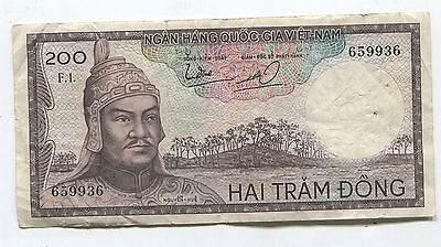 Viet Nam 200 Dong 1966  Deamon's Head Bank Note -- We Combine Shipping