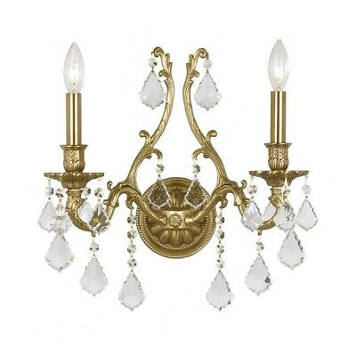 Crystorama Yorkshire Ornate Aged Brass Sconce Crystal Elements 5142-AG-CL-S