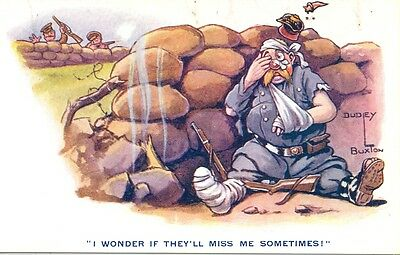 WW1 Dudley Buxton Comic Postcard: Trenches & German Soldier Humour