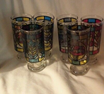 Stain Glass Beer Glasses Set of 6