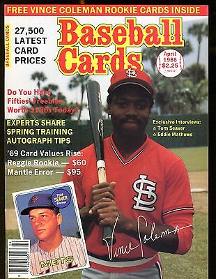 Baseball Cards Magazine April 1986 Vince Coleman Wmint Cards Jhscd3
