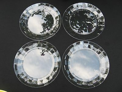 """TUPPERWARE Ice Prisms 8"""" Dessert PLATES Clear Acrylic Set 4 Party~Lunch Lot NEW"""
