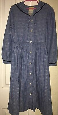 LAURA ASHLEY VINTAGE MOTHER & CHILD Girls dot Chambray SAILOR DRESS, 8 YEARS EUC