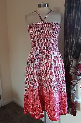 size 20 red and white strapless dress from debenhams brand new