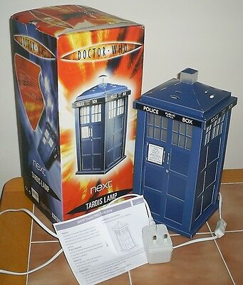 Dr Doctor Who TARDIS LAMP by Next 34cm Tall Approx. Very Good Condition. Boxed.