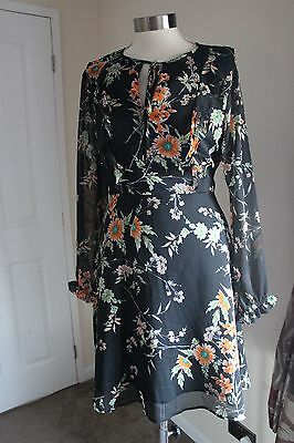 size 12 black chiffon dress with floral detail mark and spencer brand new