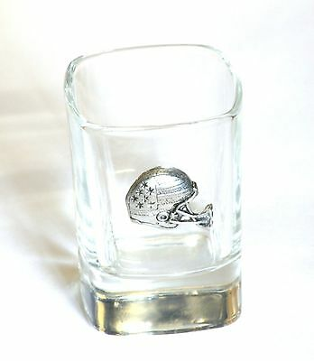 American Football Helmet Pewter Emblem  Crystal Shot Tot  Glass Gift Present