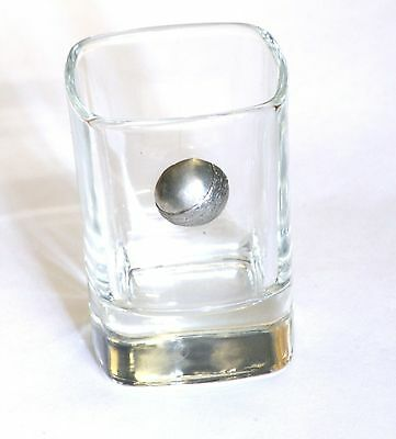 Cricket Ball Pewter Emblem Crystal Shot Tot Glass Ideal Gift Present Award