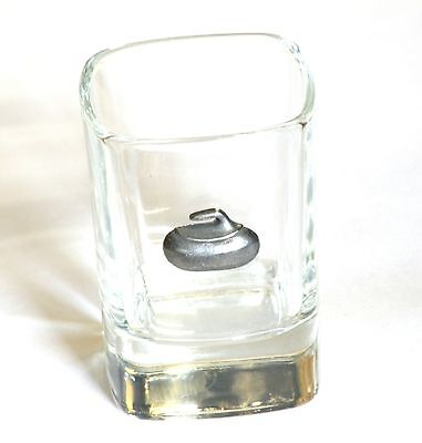Curling Stone Pewter Motif  Crystal Shot Tot  Glass Ideal  Gift  Present
