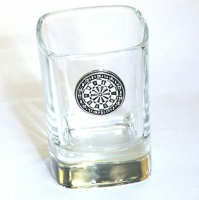Darts Board Pewter Motif  Crystal Shot Tot  Glass Ideal Award Gift  Present