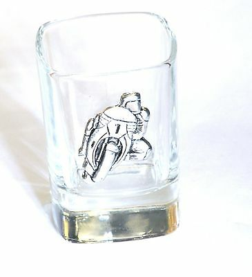 Motorbike #1 Pewter Motif Crystal Shot Tot Glass Ideal Motorcycling Gift Present