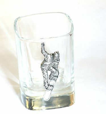 Snow Boarding Pewter Emblem Crystal Shot Tot Glass Ideal Gift Award Present