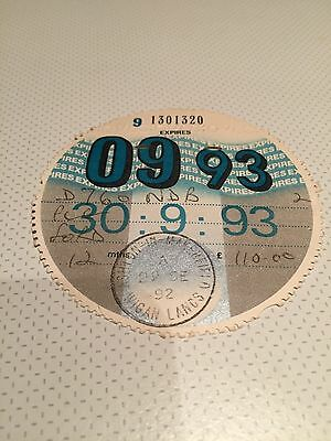 Expired Collectable 1993 Car Tax Disc Ved For Ford