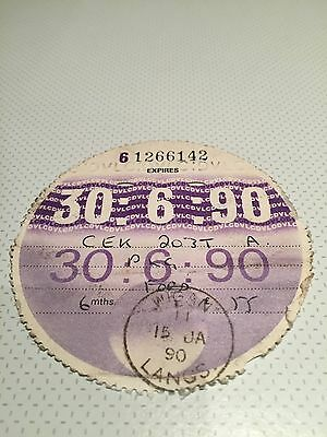 Expired Collectable 1990 Car Tax Disc Ved For Ford